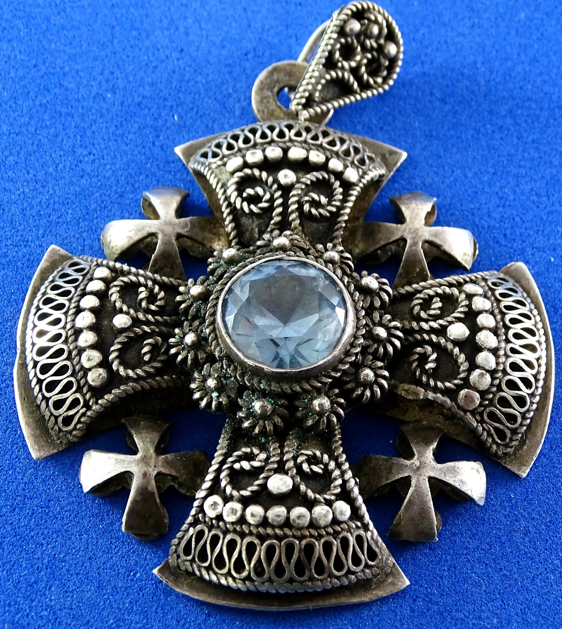 silver jerusalem four crusaders pin pendant cross large